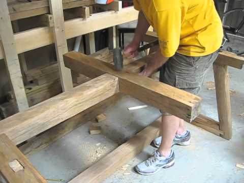 Gorgeous Wooden Table Built Using Only Hand Tools