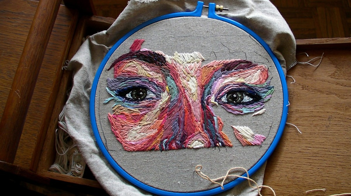 Process Photos of Julie Sarloutte's Embroidered Self-Portrait