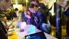 Alex and Hannah of Looking Glass Factory amaze attendees with their LED cubes