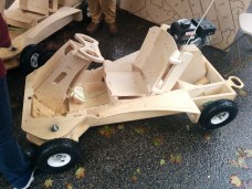 """Newport, Rhode Island-based The FlatWorks showcased this """"Plyfly Roadster"""" cut from sheets of plywood."""