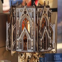 "The ""One Man, One Garage"" exhibit featured ""useful and whimsical"" projects such as this laser cut cathedral."