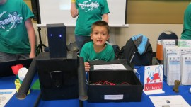 """""""EndermanSpeaker"""": Alex Hahn was our youngest Maker at 8 years of age. In love with electronics and Making since he was just 5 years old, he designed and built an audio speaker system with embedded amplifier and wrapped it all up in a skin to look like an Enderman character from the Minecraft(tm) game he also loves. We can't wait to see what he builds next!"""