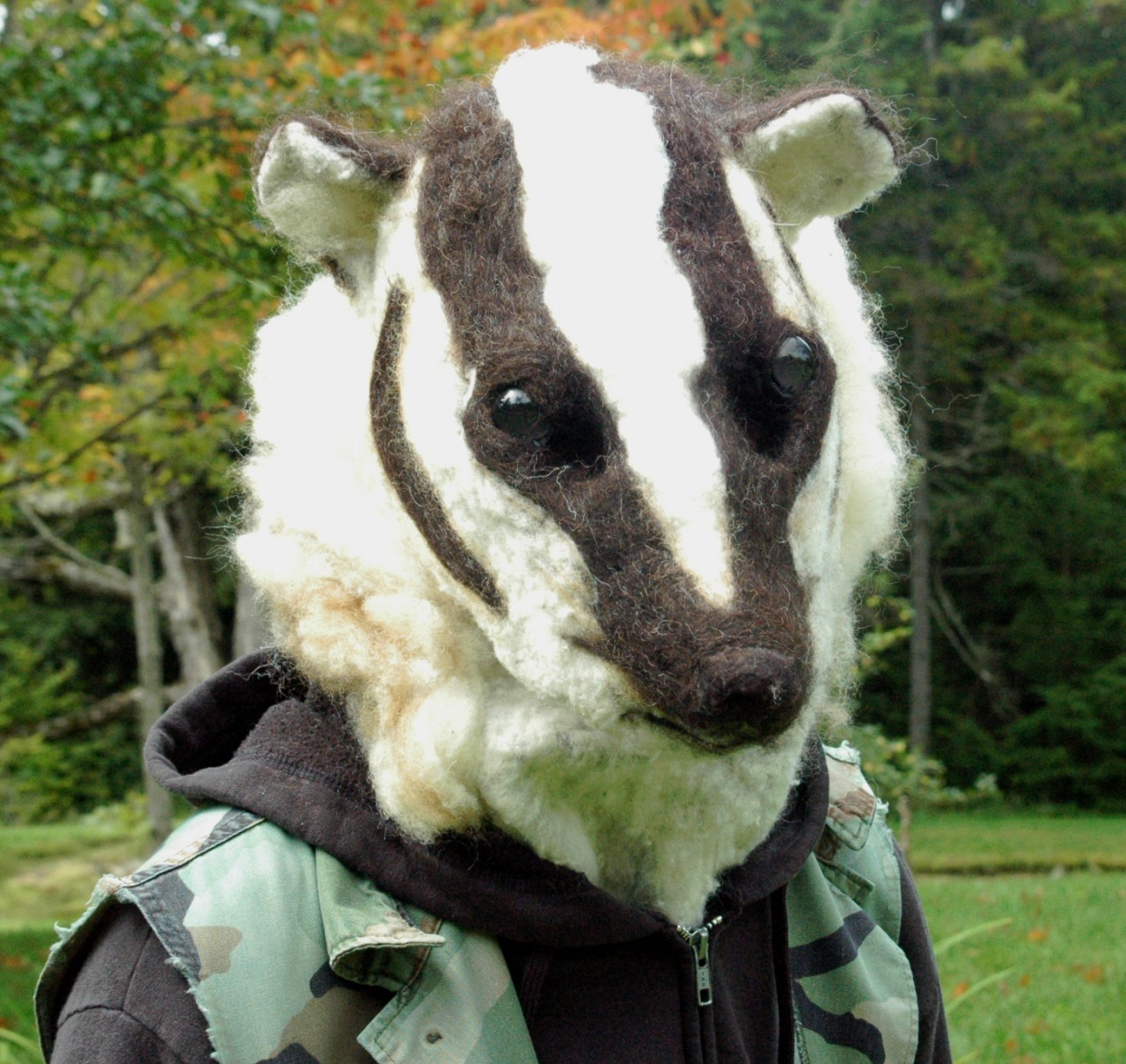 Hilarious Needle Felted American Badger Mask