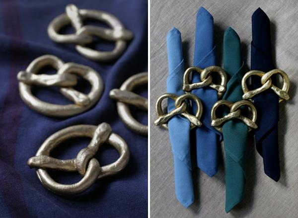 DIY Gold Pretzel Napkin Rings