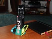 Tv remote and 3d glasses holder