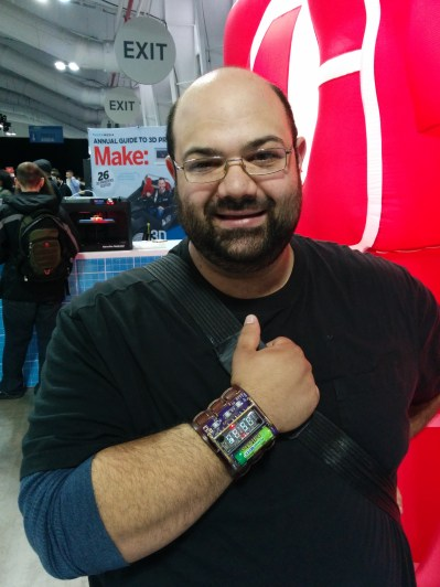 Johngineer stopped by the Make: booth wearing his ChronodeVFD wristwatch - you might have read about it on Techcrunch or Hackaday. It's very cool!