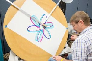 """Lissagraph"": Craig Newswanger turns complex math into beautiful art with his ""lissagraph"" machine."