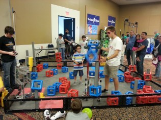 """""""VEXTournament"""": Houston Mini Maker Faire featured a broad and active display of robotics, including a VEX Robotics skills tournament. One of the participating teams set a new world record score for the current VEX Skyrise game configuration during the day!"""