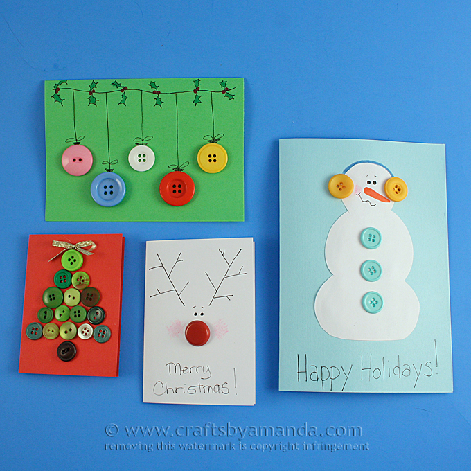 Kid Crafts: Homemade Button Christmas Cards