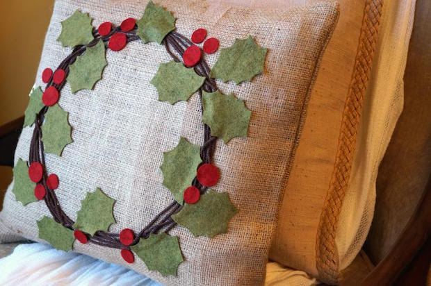 Holiday Inspiration: Holly Berry Wreath Pillow