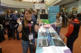 Kathryn Barrett from Kids Learning Code demonstrates a wearables project