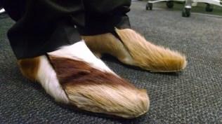 Sam's shoes, made from Springbok skin.