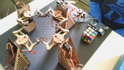 Rubiks cube solving robot, designed by Cape Town University students, sponsored by Intel.