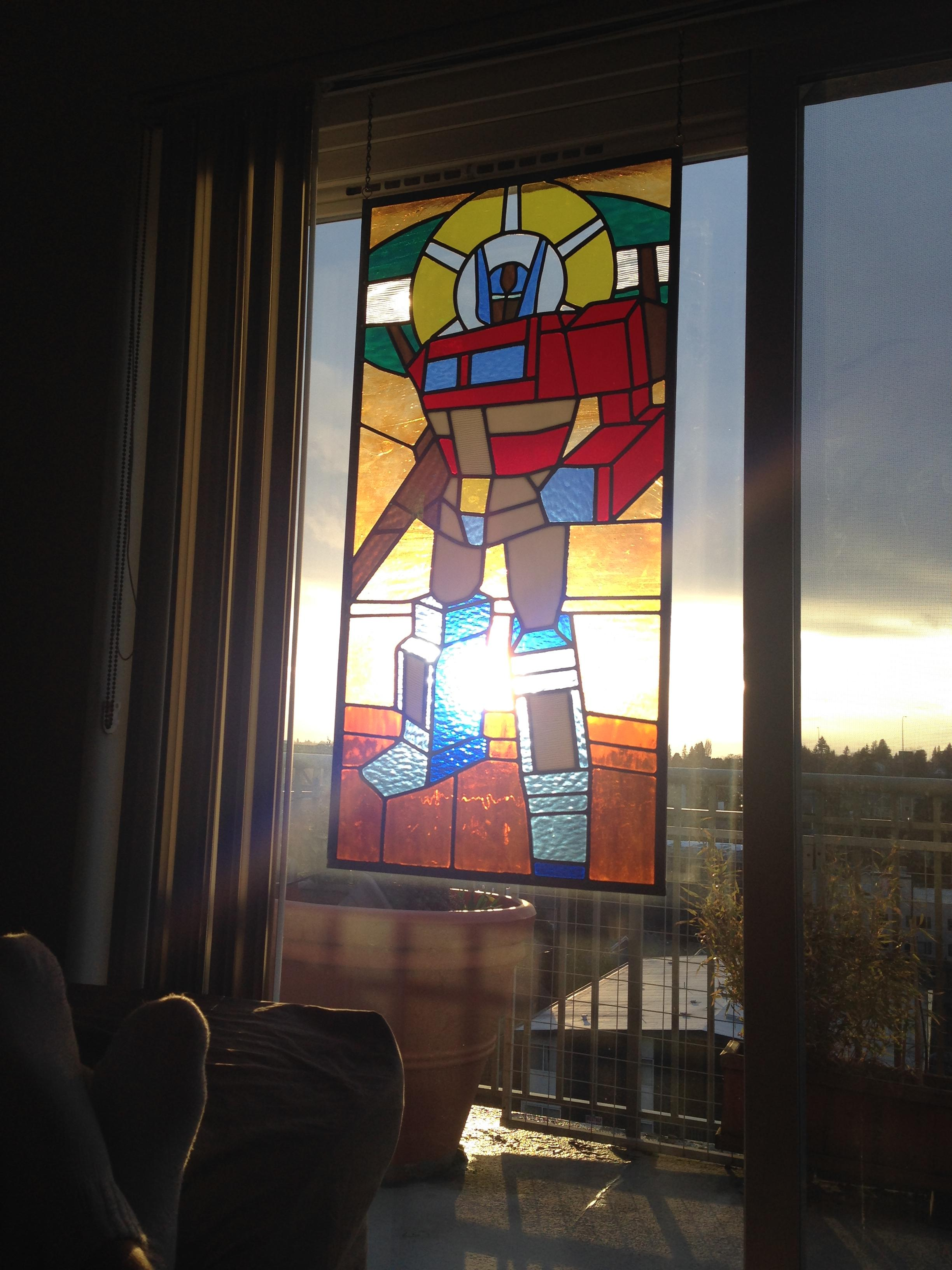 Optimus Prime In Stained Glass