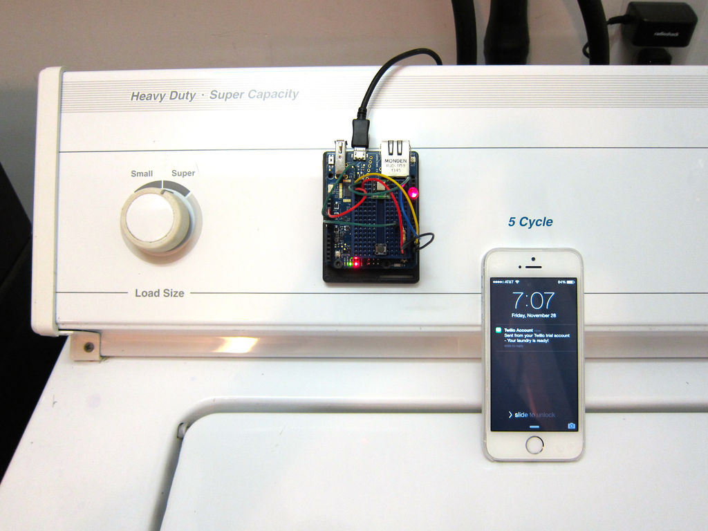 Laundry Text Message Alerts With Arduino Yun