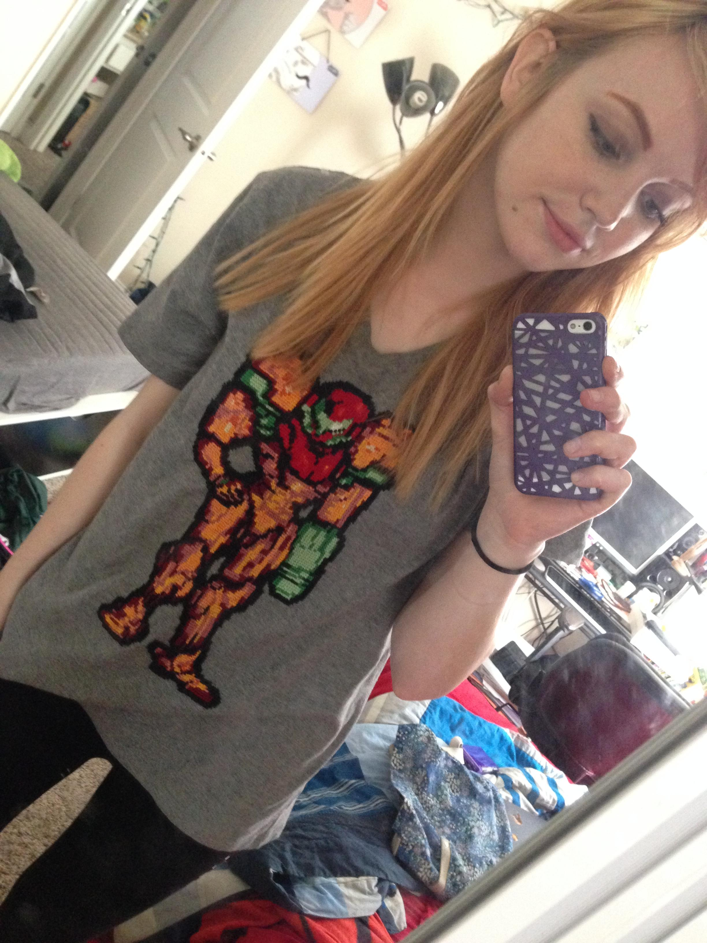 Behold This Cross-Stitched Metroid Shirt In All Its Pixelated Glory
