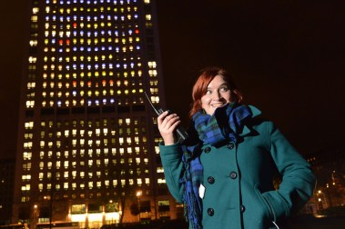 Kate Mulcahy standing in front of the Shell Centre, ready to play Tetris. (Credit: Newscast)