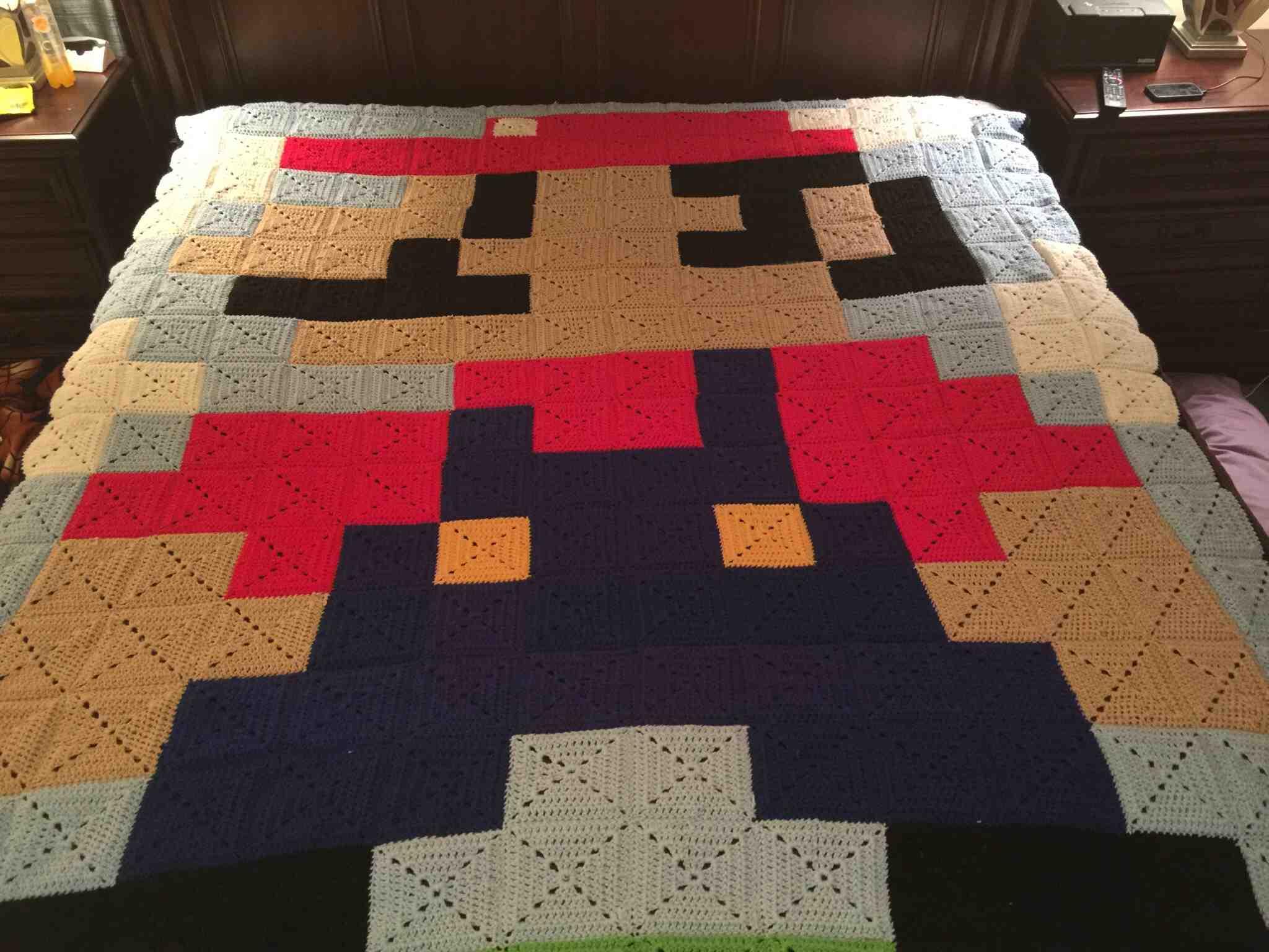 This IS Your Grandma's Super Mario Bros. Granny Square Blanket