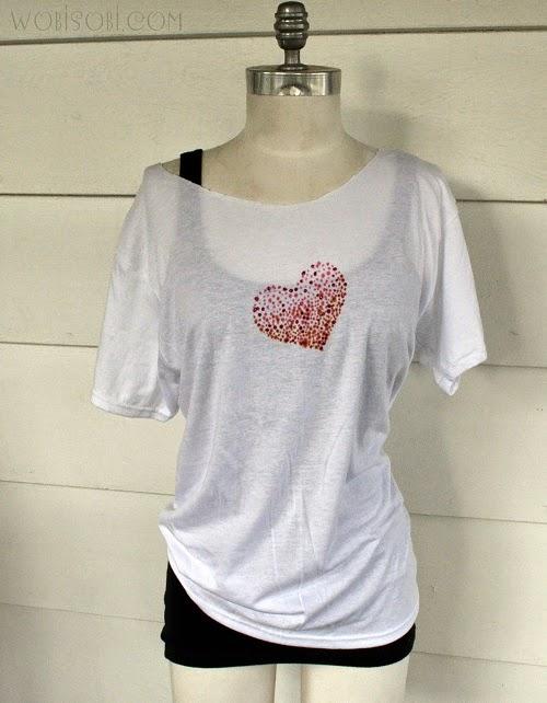 Valentine Fashion: Dye and Glitter Heart T-Shirt