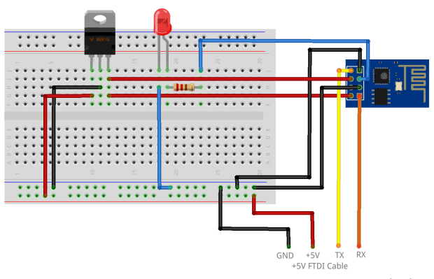 An LED attached to the free GPIO_2 pin of the ESP-01 board.