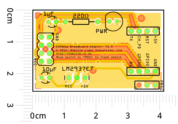 A simple breadboard adaptor for the ESP-01 module.