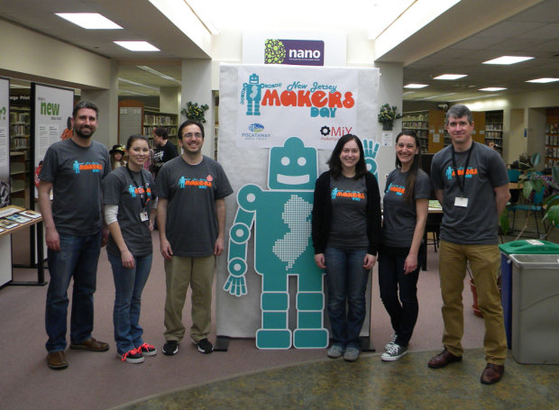 Part of the NJ Makers Day team at the Piscataway Public Library.
