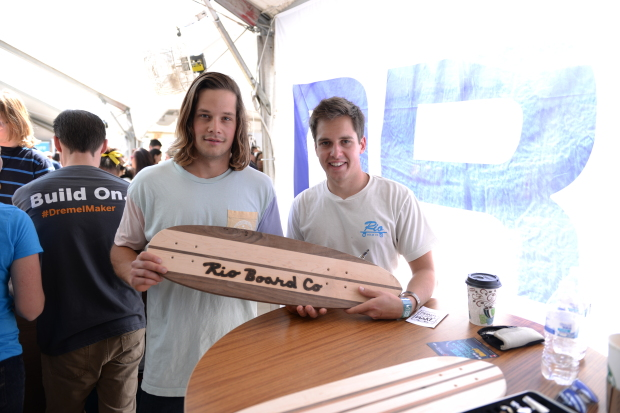 The Rio Board skateboard makers customized their hand-crafted boards at the Dremel booth using the Versatip butane tool.