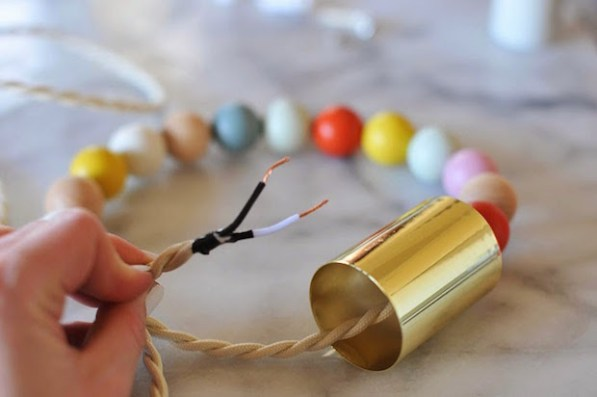 DIY Lighting: Wooden Bead Pendant Light