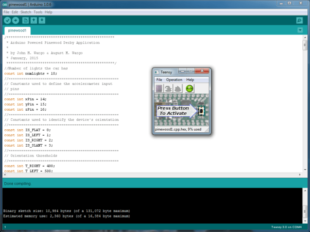 Figure 16. Arduino IDE and Teensy Loader.