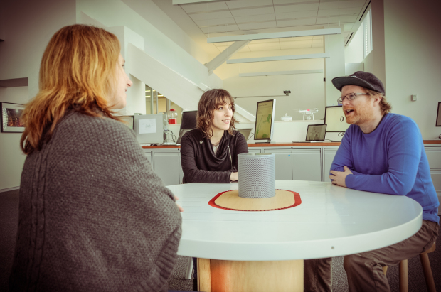 Noah Feehan meets with Alexis Lloyd (left) and Jane Friedhoff around the New York Times' Listening Table