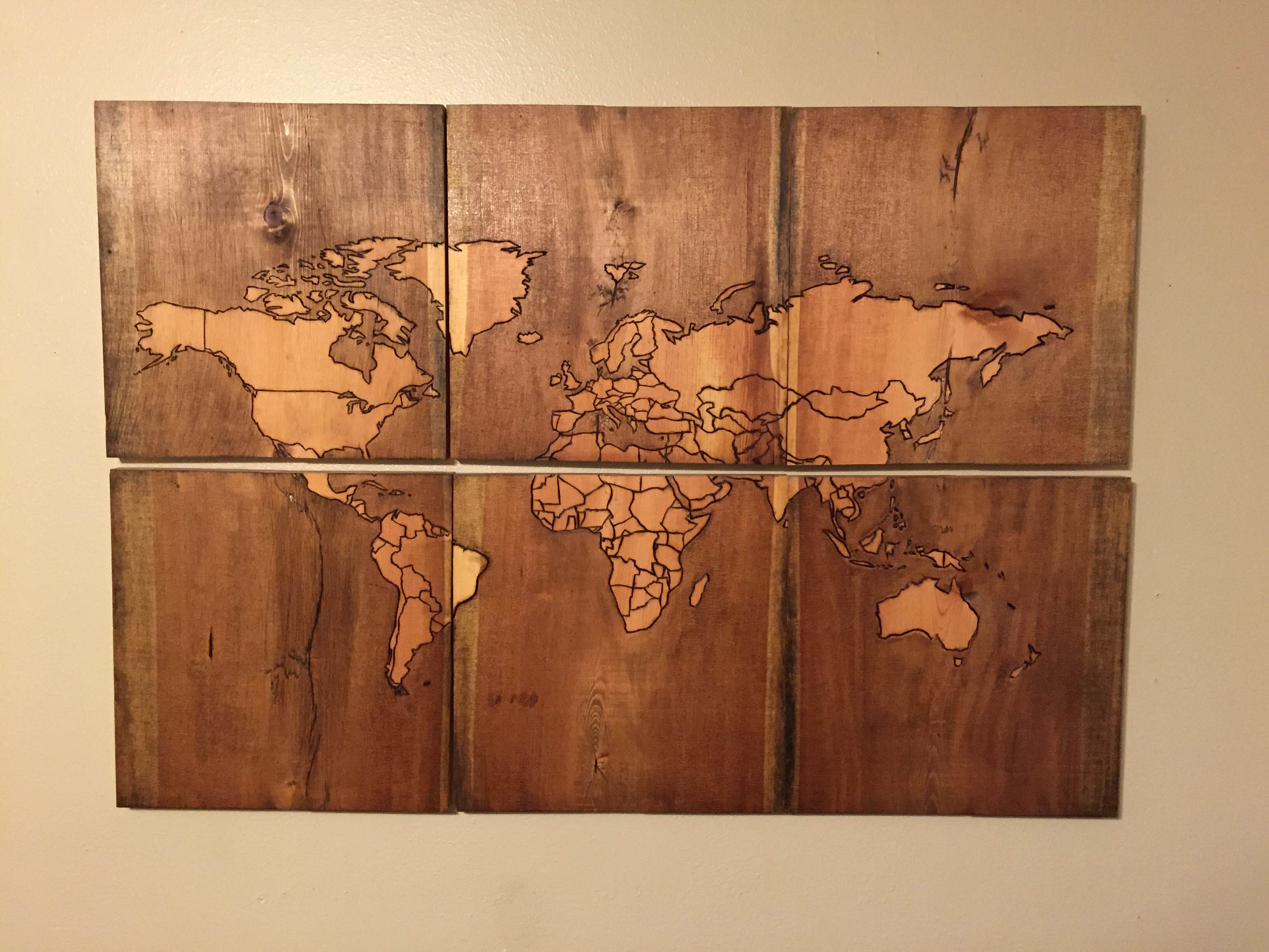 Beautiful Map of the World, Burned Into Scrap Wood