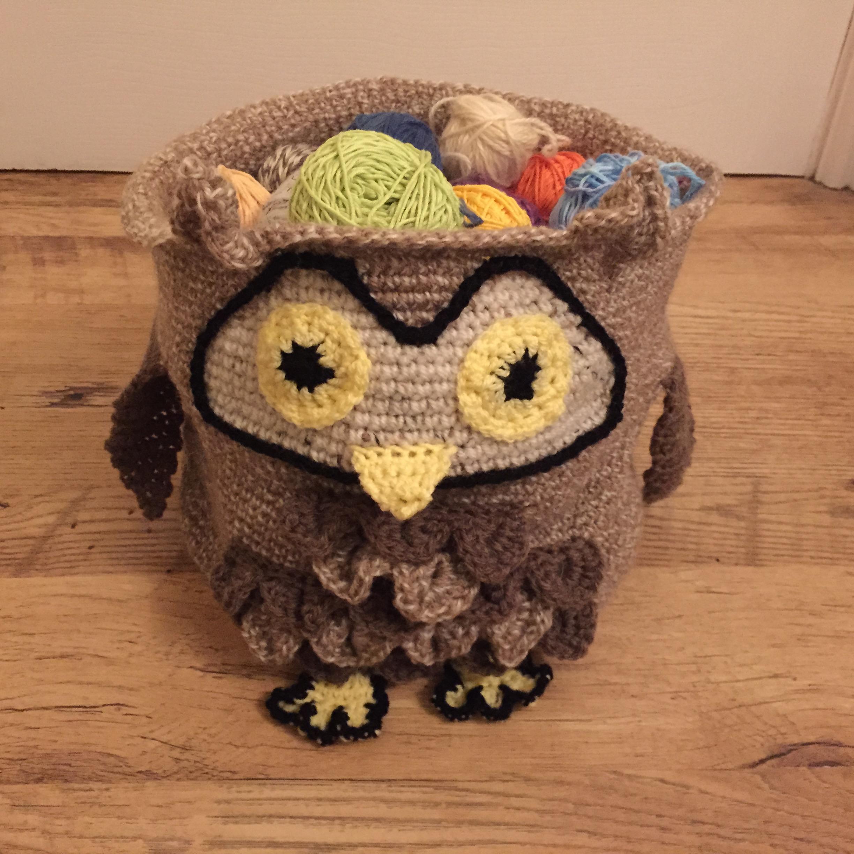 DIY Crocheted Owl Yarn Storage Basket