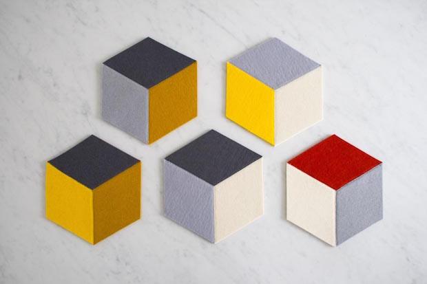 Modern and Practical: Geometric Tumbling Blocks Coasters and Trivets