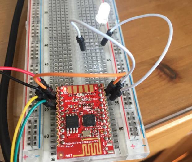 Blinking an LED using an Arduino sketch and a MOD-WIFI-ESP8266-DEV board. (Credit: Sandeep Mistry)