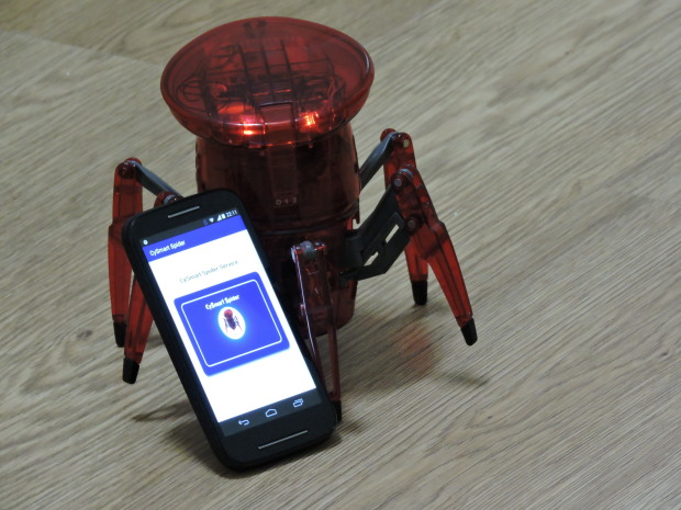 Cy Smart Spider This Smart Spider is controlled through Smartphone/Tablet via Bluetooth Low Energy (PSoC4 BLE).It can be used in various applications like Home security, Industrial Monitoring and in agriculture. This spider can be connected through cloud through mobile or system for IOT applications.This CySmart Spider also can be used in robotic sports and toys. Visit the Gallery to vote for this project.