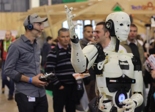 Gaël Langevin and his InMoov robot at Maker Faire Paris. Photo by Alasdair Allan.