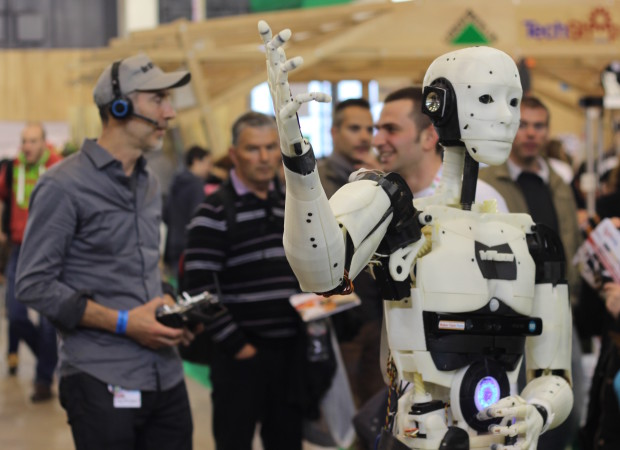 Gaël Langevin and his InMoov robot at Maker Faire Paris. Photo by Alasdair Allan.