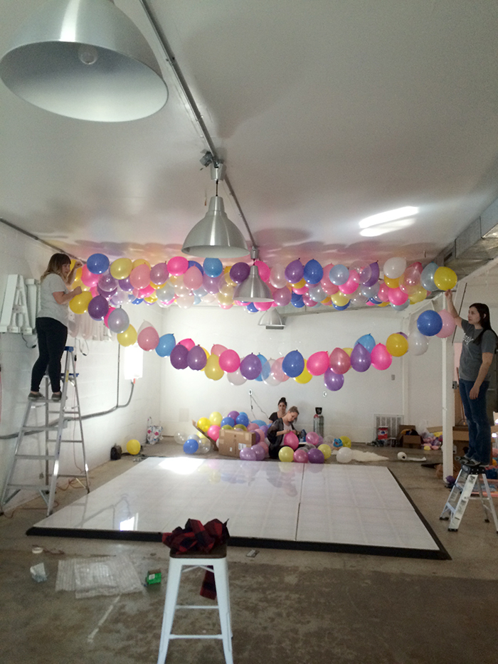 No helium required for this epic balloon ceiling make for Balloon string decorations