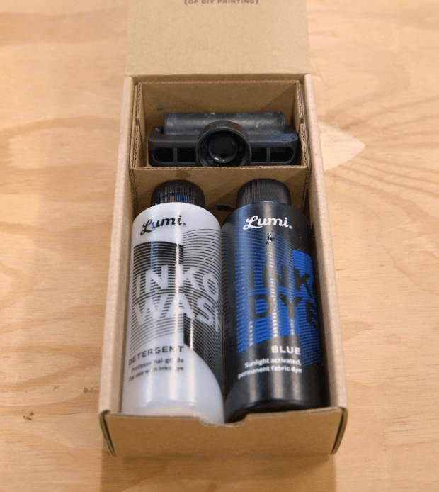 The Lumi Inkodye kit contains the UV-reactive dye, detergent, and the ink roller.