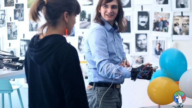 World Arduino Day 2015, Malmø, Sweden: An Arduino hardware glove controls the Crazyflie quadcopter.