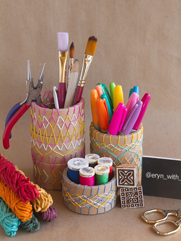 Stitch It: Embroidered Cardboard Tube Desk Set