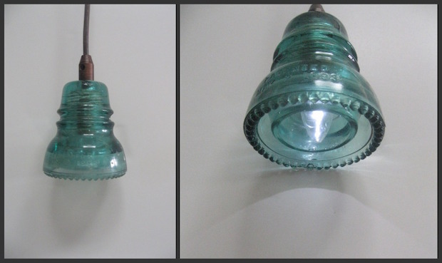 Glass from the past make a lamp with vintage power line insulators light it up make a glass insulator pendant lamp aloadofball Choice Image