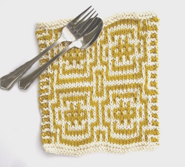 Everyday Luxuries: Knitted Mosaic Dishcloth