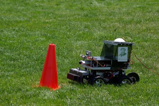 A robomagellan robot can self-navigate through an outdoor course to find a hidden orange cone, at RoboGames. Photo: Daniel Craig