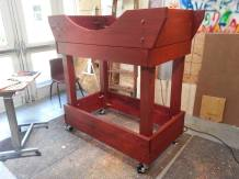 After staining, we put on some heavy duty casters.