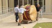 Time to move the drum from the Art building to the Music room! Our great maintenance men helped with every step of the process. They are always willing to offer advice and help. The drum could not have been completed without their help.
