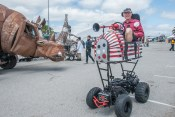 Monster Bumper Car cruises the South Lot at Maker Faire.