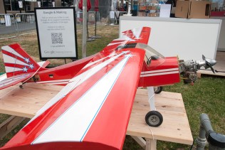 Model airplane at Google's Making Science exhibit.