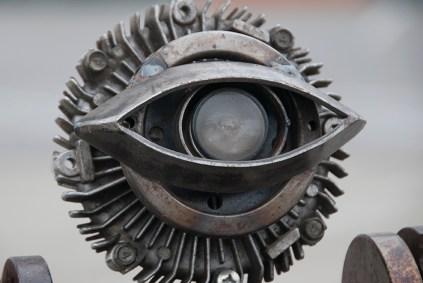 Robot eye surveys the West Lot at Maker Faire.