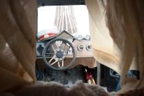Cab view of Rhino Redemption art car.